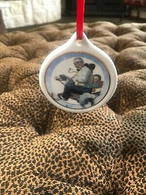 Norman Rockwell Christmas Ornament 1997 Ceramic Gramps At The Reins