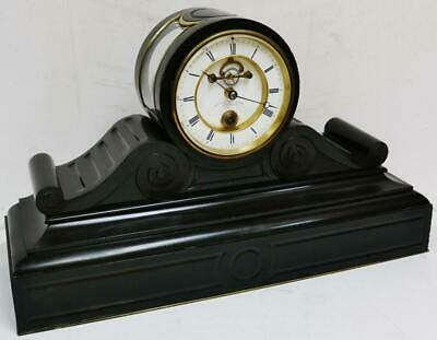 Ultra Rare Antique French Year Duration Slate Visible Escapement Mantel Clock