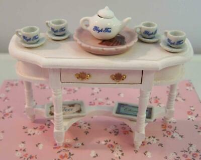 Dollhouse Miniature Furniture, Console, Tea, Teapot, Plates, Hand Painted.