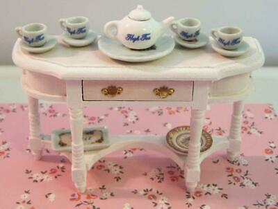 Dollhouse Miniature Furniture, Console, Tea, Teapot, Plates, Hand Painted (B)