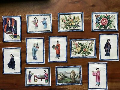 Complete Set Of 12 Chinese 19th C Pith/Rice Paper Paintings With Original Box