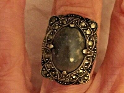 Vintage Green Jade Art Deco & Marcasite Sterling Silver Ring, sz 4