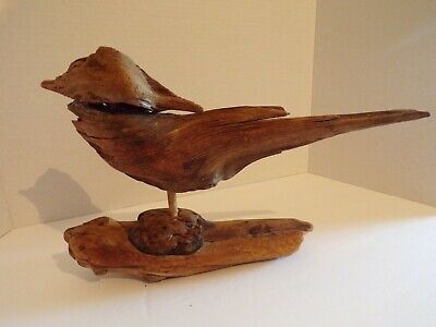 OOAK Unique Vintage Rustic Driftwood Bird Perched Sculpture Natural Aged Wood