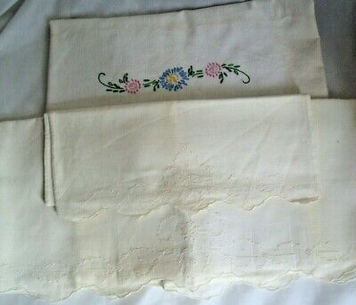 2 Antique Baby Crib top Sheets w/ 1 pillowcase 1940s Embroidered