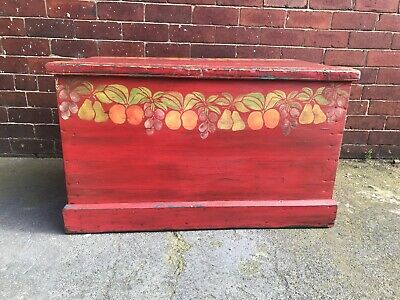 Antique Pine Trunk / Coffee Table / Blanket Box / Storage - Rustic - Painted