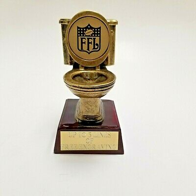 Fantasy Football Trophy Last Place Toilet Bowl Ffl - Free Engraving!