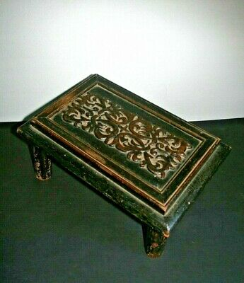 Antique carved oak hand made foot stool