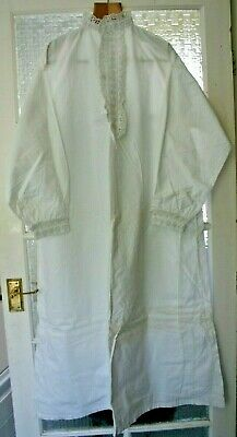 Antique cotton adult night shirt broderie anglais whitework collar and cuffs