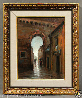 """20th Century Orientalist Oil Painting signed Gully """"Dark Alley after Rainfall"""""""
