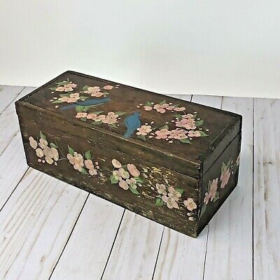 Antique Hand Painted Wooden Chest Box Trunk Birds Flowers Floral