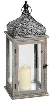 Large Vintage Wooden Lantern with Ornate Silver Metal Fretwork Top - Height 66cm