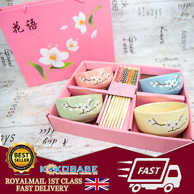 Complete Pink box Chinese Dining Set 4 colours bowls with chopsticks Gift Boxed