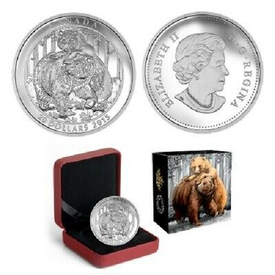 2015 $20 Canada Grizzly Bear Fine Silver Coin - Togetherness