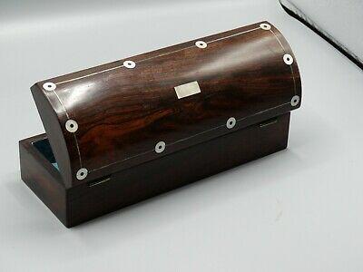 Antique English Rosewood Pen & Pencil or Glove Box, Mother of Pearl
