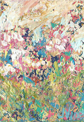 $5 ACEO SALE Original Abstract Acrylic Landscape Knife Flower Meadow Painting NR