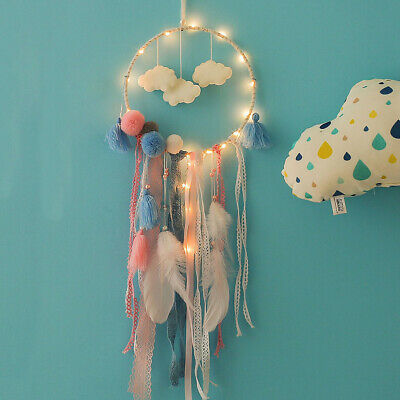 Handmade White Cloud Dream Catcher With Feather Wall Hanging Nursery Ornament