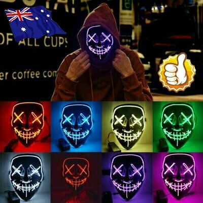 Cosplay Led Costume Wire Light Up Fluorescent Mask Halloween Scary The Purge QG