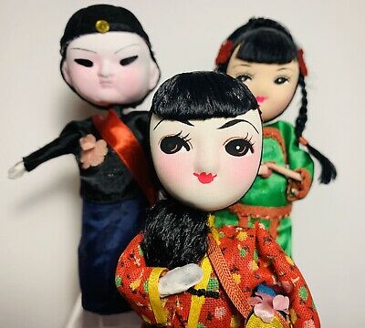 """Vintage Chinese Wooden Geisha Doll SET (3) IN Ornate Ethnic Costumes 6"""" tall"""