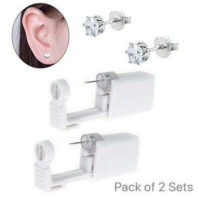 2x Self Ear Piercing Gun Earring Disposable Ear Stud Gun Kit Sterile NoPain Tool