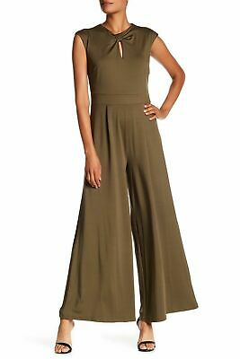 Sharagano Women's Twist Front Wide Leg Pants Jumpsuit  Fall Olive Green Size 12
