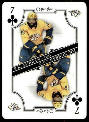 2019-20 UD O-Pee-Chee Playing Cards #7-CLUBS P.K. Subban - Nashville Predators