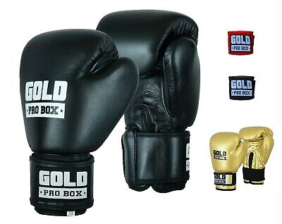 Boxing Gloves Leather Gel Punching Fist Training Hand Wraps Bag Kids Fight Kick