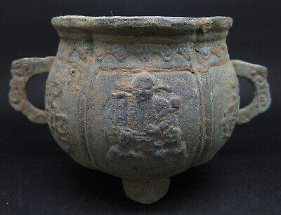 Ancient Bronze Pot / Container Carved Figures with Sign
