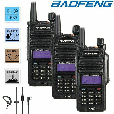 3x Baofeng IP67 Waterproof  Two Way FM Ham Radio Dual Band UHF VHF Walkie Talkie