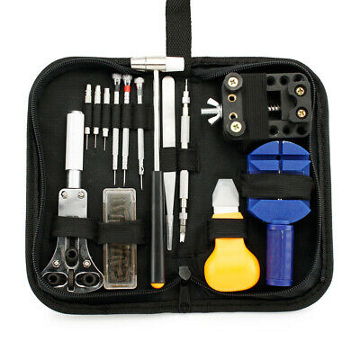 Watch Repair Tool Kit Opener Link Remover Spring Bar Free Hammer Carry Case FD