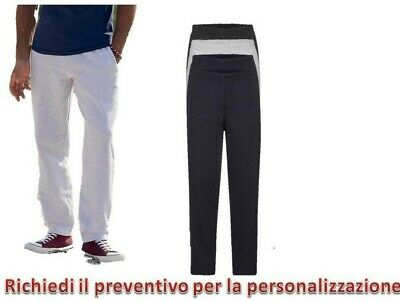 Pantalone Tuta  Felpato Uomo Sportivo Fitness Fruit Of The Loom fondo largo