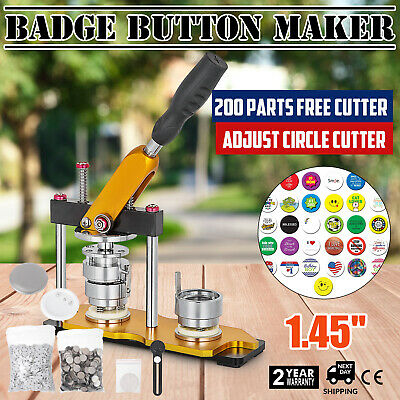 37mm(1.45'') Button Maker Rotate Machine 200Pcs Pin Buttons Key Chains Badge