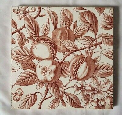 Charming English Victorian Botanical Design 6 Inch Tile