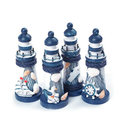 Mediterranean Style Creative Wooden Painted Decoration White And Blue Lighthouse