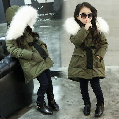 Girls Coat Winter Puffa Jacket Hooded School Warm Quilted Kids Fur Windbreaker