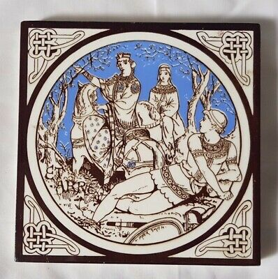 STUNNING MOYR-SMITH MINTON etarre KNIGHT AND MAIDENS DESIGN 6 INCH TILE