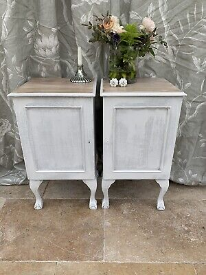Pair Of Antique Ball And Claw Feet Cupboard /bedside  Tables