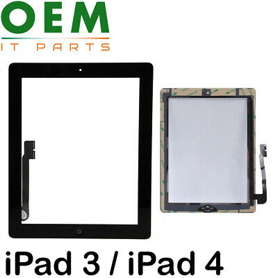 For iPad 3 / iPad 4 Touch Screen Digitizer Glass Home Button Black With Adhesive
