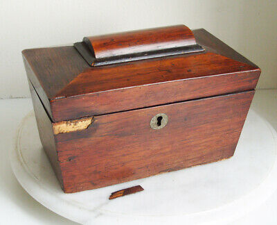 Antique Vintage Sarcophagus Wooden Treen  Tea Caddy   Box - restoration project