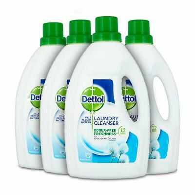 Dettol Antibacterial Laundry Detergent Cleanser Liquid,Fresh Cotton, 4x1,5 Litre