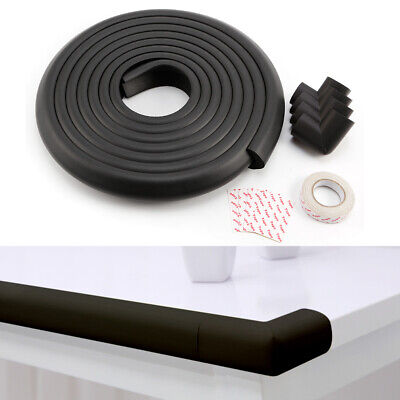 5M Baby Toddler Safety Proofing Table Edge Guard Protector 4 Corners White/Black