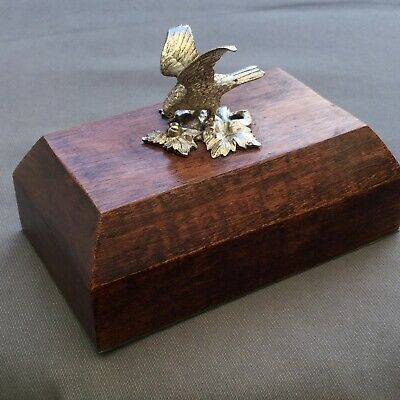 Large Solid Sterling Silver & Mahogany Eagle / Bird Landing Paperweight