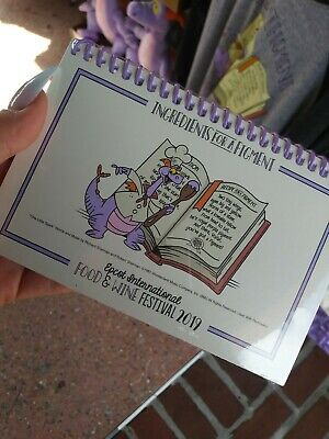Disney Epcot Food and Wine Festival 2019 Figment Recipe Book