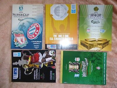 Liverpool FC – FULL SET of ALL 2001 Cup Final programmes –UEFA FA CHARITY SHIELD
