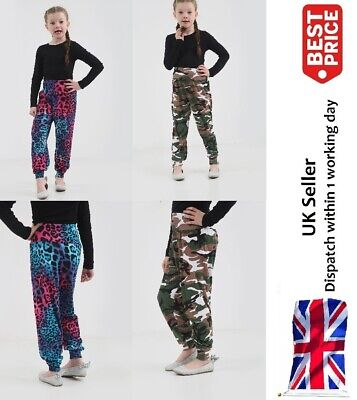 Girls Printed Harem Trousers Pants Kids Leggings Childrens Army & Multi Leopard