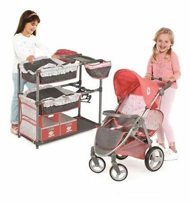 Twin Doll Stroller and Bunk Beds Play Set Kids Doll Pram Stroller Toy