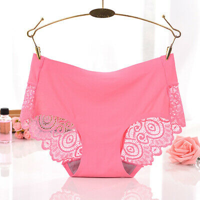 Sexy Womens Seamless Ice Silk Lace Stitching Underwear Lady Usual Shorts Brief