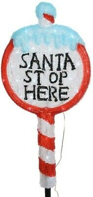 Kaemingk Christmas Santa Stop Here Outdoor Acrylic Sign with Cool White LEDs