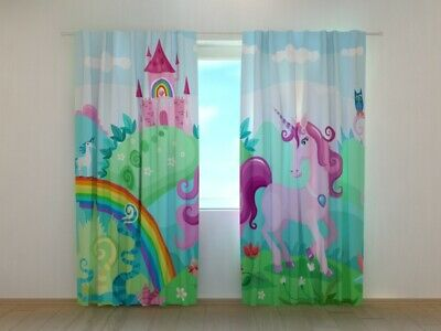 Window Curtain Printed with Magic Country and Unicorn Wellmira Made to Measure