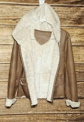 Athleta Small Faux Leather Brown Full Zip Jacket Faux Fur Lined Hooded Women's S