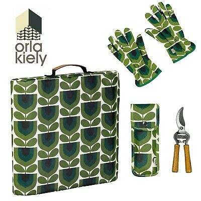 Orla Kiely Gardening Set (Kneeler, Potting Gloves, Pruners) Striped Tulip - New!
